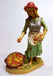 Picture of Woman with Fruit cm 20 (7,9 inch) Pellegrini Nativity Scene small size Statue Wood Stained plastic PVC traditional Arabic indoor outdoor use