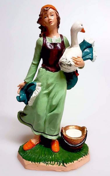 Picture of Woman with Goose cm 20 (7,9 inch) Pellegrini Nativity Scene small size Statue Bright Colors plastic PVC traditional Arabic indoor outdoor use