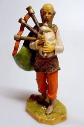 Picture of Bagpiper cm 20 (7,9 inch) Pellegrini Nativity Scene small size Statue Wood Stained plastic PVC traditional Arabic indoor outdoor use