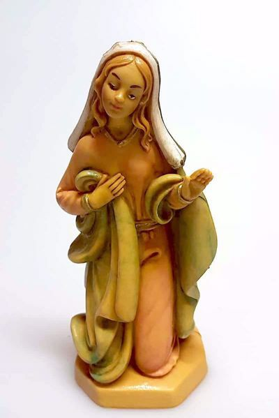 Picture of Mary / Madonna cm 16 (6,3 inch) Pellegrini Nativity Scene small size Statue Wood Stained plastic PVC traditional Arabic indoor outdoor use