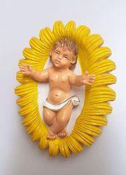 Immagine di Gesù Bambino in Culla cm 16 (6,3 inch) Presepe Pellegrini Colorato Statua in plastica PVC Arabo tradizionale piccolo per interno esterno