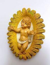 Immagine di Gesù Bambino in Culla cm 16 (6,3 inch) Presepe Pellegrini Tinto Legno Statua in plastica PVC Arabo tradizionale piccolo per interno esterno