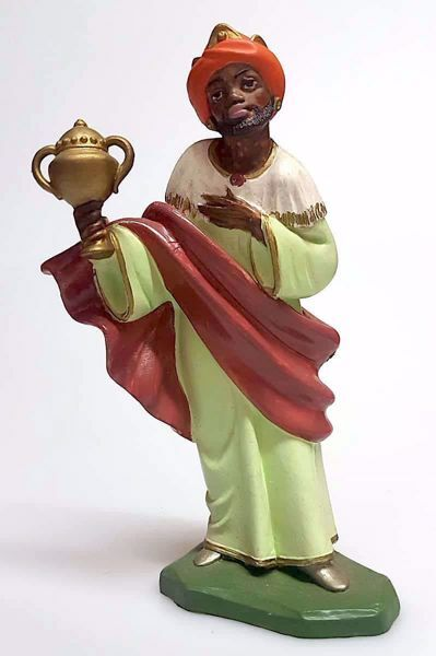 Picture of Balthazar Black Wise King cm 16 (6,3 inch) Pellegrini Nativity Scene small size Statue Bright Colors plastic PVC traditional Arabic indoor outdoor use