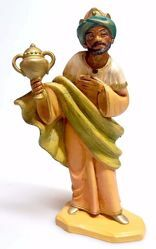 Imagen de Baltasar Rey Mago Negro cm 16 (6,3 inch) Belén Pellegrini Estatua en plástico PVC árabe tradicional pequeño Efecto Madera para uso en interior exterior