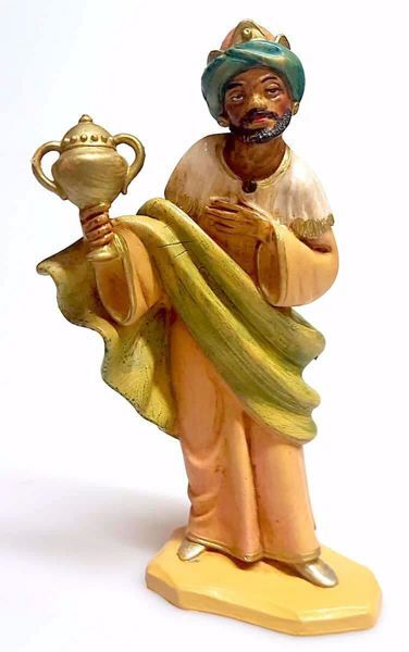 Picture of Balthazar Black Wise King cm 16 (6,3 inch) Pellegrini Nativity Scene small size Statue Wood Stained plastic PVC traditional Arabic indoor outdoor use