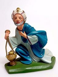 Picture of Melchior Saracen Wise King cm 16 (6,3 inch) Pellegrini Nativity Scene small size Statue Bright Colors plastic PVC traditional Arabic indoor outdoor use