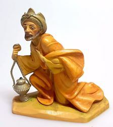 Immagine di Melchiorre Re Magio Mulatto cm 16 (6,3 inch) Presepe Pellegrini Tinto Legno Statua in plastica PVC Arabo tradizionale piccolo per interno esterno