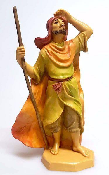 Immagine di Cammelliere cm 16 (6,3 inch) Presepe Pellegrini Tinto Legno Statua in plastica PVC Arabo tradizionale piccolo per interno esterno