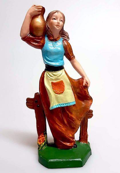 Immagine di Donna con Anfora cm 16 (6,3 inch) Presepe Pellegrini Colorato Statua in plastica PVC Arabo tradizionale piccolo per interno esterno