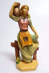 Picture of Woman with amphora cm 16 (6,3 inch) Pellegrini Nativity Scene small size Statue Wood Stained plastic PVC traditional Arabic indoor outdoor use