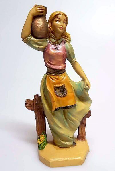 Immagine di Donna con Anfora cm 16 (6,3 inch) Presepe Pellegrini Tinto Legno Statua in plastica PVC Arabo tradizionale piccolo per interno esterno