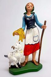 Immagine di Donna con Capra cm 16 (6,3 inch) Presepe Pellegrini Colorato Statua in plastica PVC Arabo tradizionale piccolo per interno esterno
