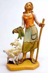 Immagine di Donna con Capra cm 16 (6,3 inch) Presepe Pellegrini Tinto Legno Statua in plastica PVC Arabo tradizionale piccolo per interno esterno