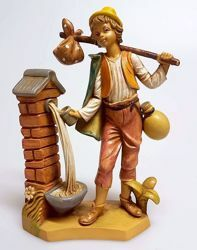 Picture of Shepherd at the Fountain cm 16 (6,3 inch) Pellegrini Nativity Scene small size Statue Wood Stained plastic PVC traditional Arabic indoor outdoor use