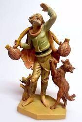 Immagine di Pastore con Brocche cm 16 (6,3 inch) Presepe Pellegrini Tinto Legno Statua in plastica PVC Arabo tradizionale piccolo per interno esterno
