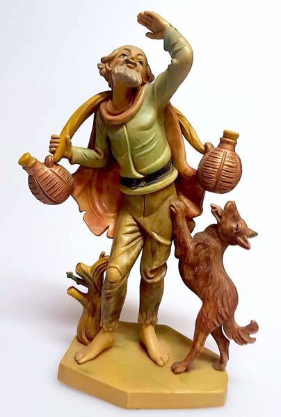 Picture of Shepherd with Jugs cm 16 (6,3 inch) Pellegrini Nativity Scene small size Statue Wood Stained plastic PVC traditional Arabic indoor outdoor use