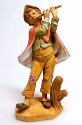 Immagine di Pastore con Flauto cm 16 (6,3 inch) Presepe Pellegrini Tinto Legno Statua in plastica PVC Arabo tradizionale piccolo per interno esterno