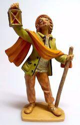 Immagine di Pastore con Lanterna cm 16 (6,3 inch) Presepe Pellegrini Tinto Legno Statua in plastica PVC Arabo tradizionale piccolo per interno esterno