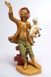 Immagine di Pastore con Pecora in braccio cm 16 (6,3 inch) Presepe Pellegrini Tinto Legno Statua in plastica PVC Arabo tradizionale piccolo per interno esterno