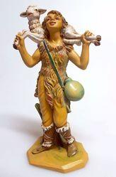 Immagine di Pastore con Pecora sulle spalle cm 16 (6,3 inch) Presepe Pellegrini Tinto Legno Statua in plastica PVC Arabo tradizionale piccolo per interno esterno