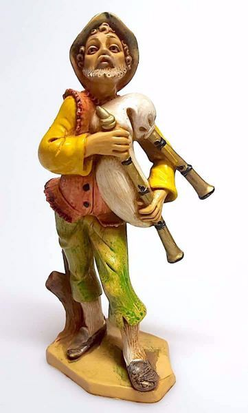 Immagine di Zampognaro cm 16 (6,3 inch) Presepe Pellegrini Tinto Legno Statua in plastica PVC Arabo tradizionale piccolo per interno esterno