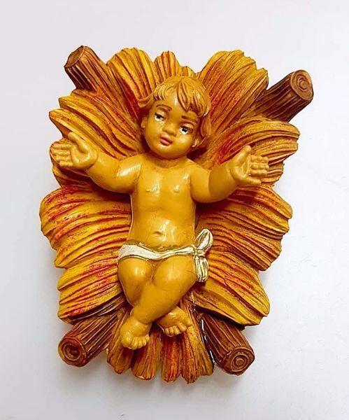 Immagine di Gesù Bambino in Culla cm 12 (4,7 inch) Presepe Pellegrini Tinto Legno Statua in plastica PVC Arabo tradizionale piccolo per interno esterno