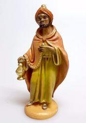 Imagen de Baltasar Rey Mago Negro cm 12 (4,7 inch) Belén Pellegrini Estatua en plástico PVC árabe tradicional pequeño Efecto Madera para uso en interior exterior