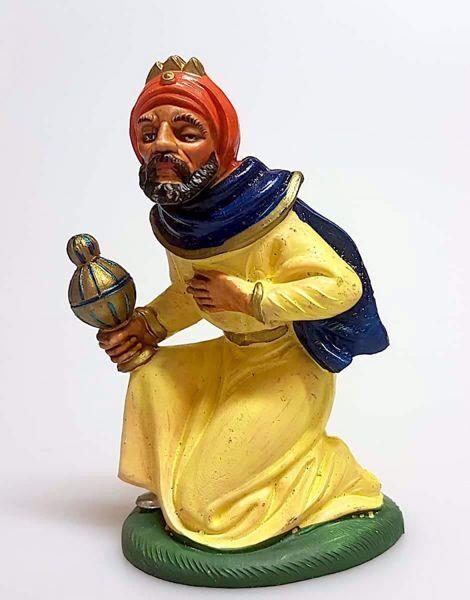 Immagine di Melchiorre Re Magio Mulatto cm 12 (4,7 inch) Presepe Pellegrini Colorato Statua in plastica PVC Arabo tradizionale piccolo per interno esterno