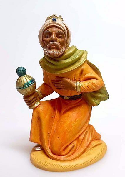 Immagine di Melchiorre Re Magio Mulatto cm 12 (4,7 inch) Presepe Pellegrini Tinto Legno Statua in plastica PVC Arabo tradizionale piccolo per interno esterno