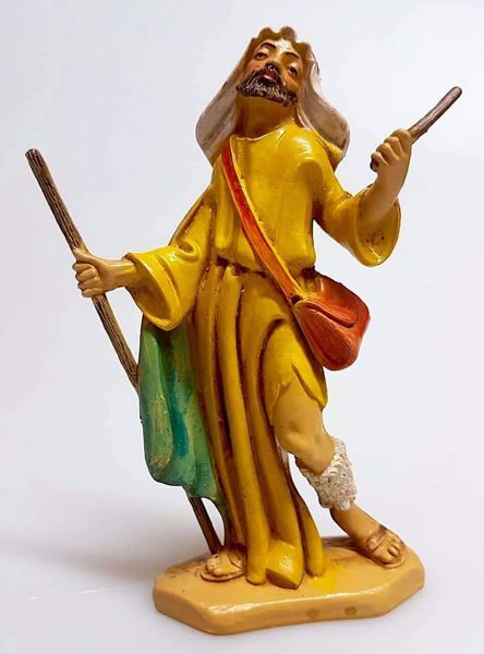 Imagen de Camellero cm 12 (4,7 inch) Belén Pellegrini Estatua en plástico PVC árabe tradicional pequeño Efecto Madera para uso en interior exterior
