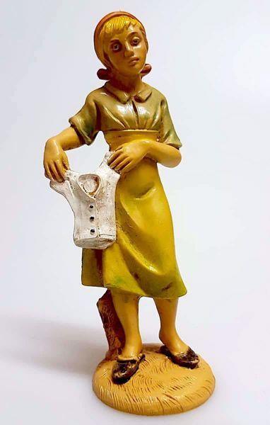 Immagine di Donna che lava cm 12 (4,7 inch) Presepe Pellegrini Tinto Legno Statua in plastica PVC Arabo tradizionale piccolo per interno esterno