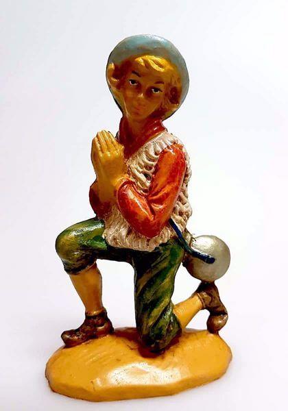 Immagine di Pastore che prega cm 12 (4,7 inch) Presepe Pellegrini Tinto Legno Statua in plastica PVC Arabo tradizionale piccolo per interno esterno