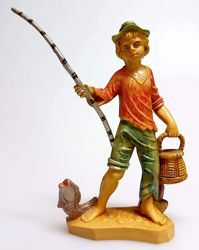 Picture of Fisherman cm 12 (4,7 inch) Pellegrini Nativity Scene small size Statue Wood Stained plastic PVC traditional Arabic indoor outdoor use