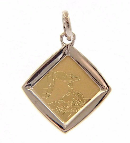 Picture of Baptism Gift of God Sacred Square Medal Pendant gr 1,4 Bicolour yellow white Gold 18k for Baby Girl and Boy