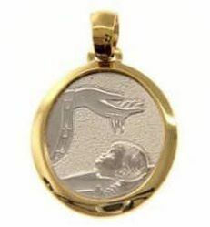 Picture of Baptism Gift of God Sacred Medal Round Pendant gr 2,4 Bicolour yellow white Gold 18k for Baby Girl and Boy