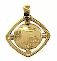 Picture of Baptism Gift of God Sacred Square Medal Pendant in bas-relief for Baptism gr 1,1 Yellow Gold 18k for Baby Girl and Boy