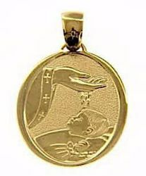 Picture of Baptism Gift of God Sacred Oval Medal Pendant gr 3,3 Yellow Gold 18k for Baby Girl and Boy