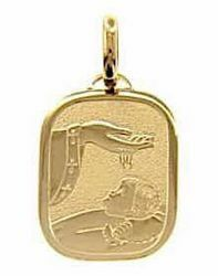 Picture of Baptism Gift of God Sacred Rectangular Medal Pendant in bas-relief for Baptism gr 2,2 Yellow Gold 18k for Baby Girl and Boy