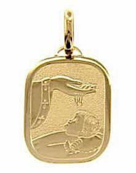 Imagen de Bautismo Don de Dios Medalla Sagrada Colgante rectangular en bajorrelieve para Bautismo gr 2,2 Oro amarillo 18kt para Bebés (Niños y Niñas)