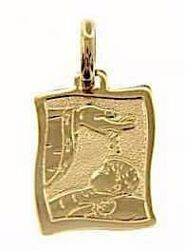 Picture of Baptism Gift of God Sacred Rectangular Medal Pendant in bas-relief for Baptism gr 1,65 Yellow Gold 18k for Baby Girl and Boy