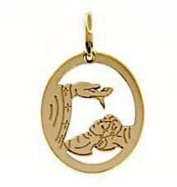 Imagen de Bautismo Don de Dios perforada Medalla Sagrada Colgante oval gr 1,2 Oro amarillo 18kt para Bebés (Niños y Niñas)