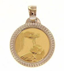 Picture of Baptism Gift of God with carved edge Sacred Medal Round Pendant gr 2,5 Yellow Gold 18k for Baby Girl and Boy