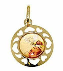 Picture of Baptism Gift of God Sacred Medal Pendant gr 1,05 Yellow Gold 18k with Enamel and heart edge for Baby Girl and Boy