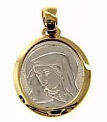 Picture of Madonna Our Lady of Sorrows Sacred Medal Round Pendant gr 2,4 Bicolour yellow white Gold 18k for Woman