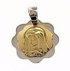 Picture of Madonna Our Lady of Sorrows Sacred Medal Round Pendant gr 1,7 Bicolour yellow white Gold 18k with flower edge for Woman