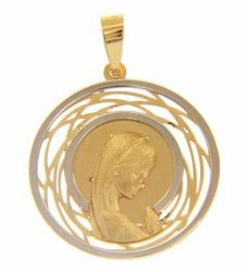 Picture of Madonna praying with perforated double aureole Sacred Medal Round Pendant gr 1,65 Bicolour yellow white Gold 18k for Woman
