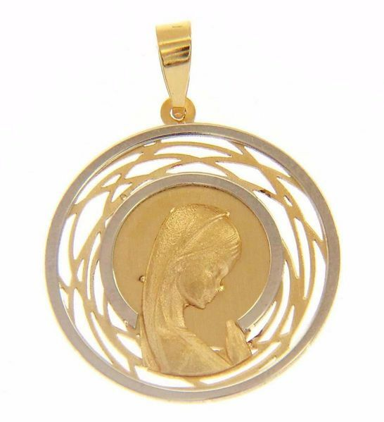 Imagen de Nuestra Señora Madonna en Oración doble aureola Medalla Sagrada Colgante redonda gr 1,65 Bicolor Oro blanco amarillo 18kt para Mujer