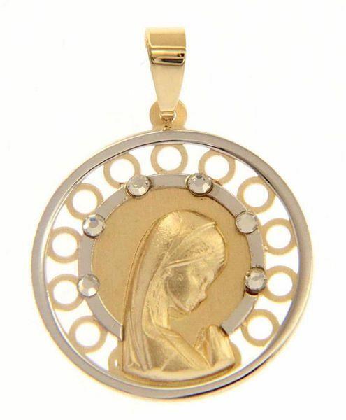 Imagen de Nuestra Señora Madonna en Oración doble aureola puntos de Luz Medalla Sagrada Colgante redonda gr 1,6 Bicolor Oro blanco amarillo 18kt Zircones
