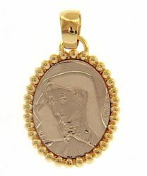 Picture of Madonna Our Lady of Sorrows Sacred Oval Medal Pendant gr 2,7 Bicolour yellow white Gold 18k with sphere Crown for Woman