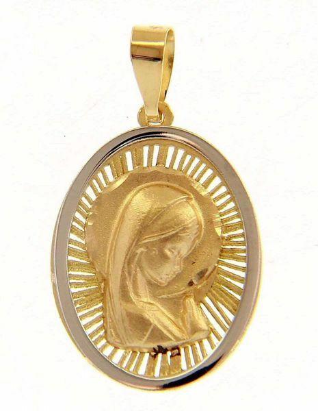 Imagen de Nuestra Señora Madonna en Oración con aureola Medalla Sagrada Colgante oval gr 1,4 Bicolor Oro blanco amarillo 18kt para Mujer